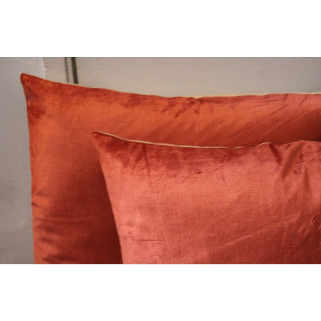 Silky Coral Velvet Pillows, Pair For Sale - Image 5 of 5