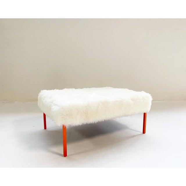 Modern The Forsyth Ottoman in Sheepskin For Sale - Image 3 of 10