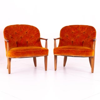 Mid Century Edward Wormley for Dunbar Tufted Barrel Lounge Chairs - Pair Preview