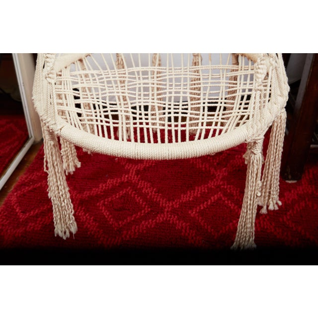 Blue Vintage Boho Chic Macrame Hanging Chair For Sale - Image 8 of 13