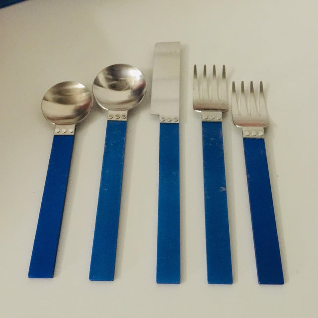 Sasaki c. 1986 David Tisdale ELECTRA Flatware Royal Blue 39 Pcs Stainless & Aluminum Included in this listing is the...