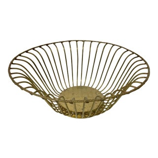 1950's Vintage Brass Wire Basket For Sale