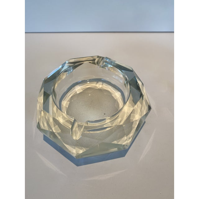 Mid-Century Modern Vintage Crystal Table Lighter and Ashtray For Sale - Image 3 of 6