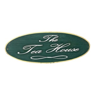 "Wooden ""Tea House"" Store Sign"