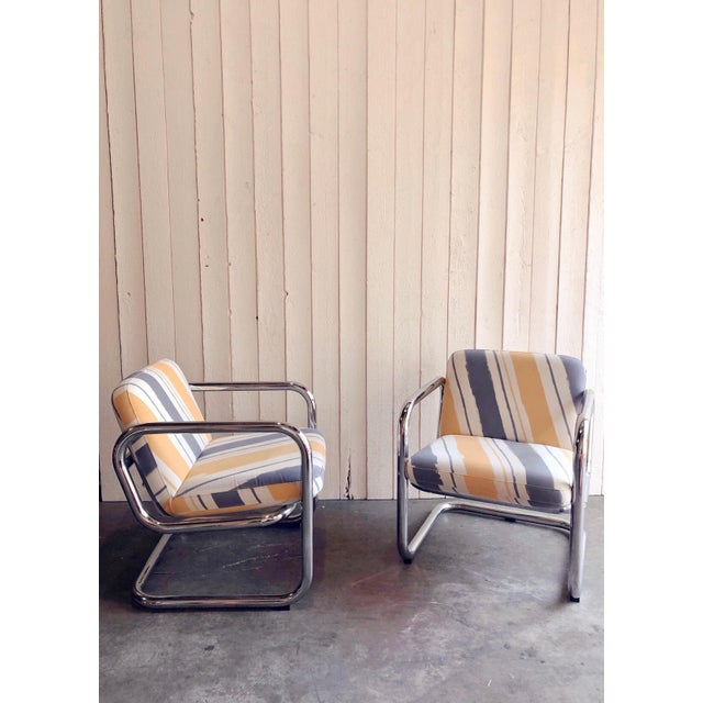 Vintage Kinetics Furniture Chrome Cantilever Armchairs For Sale - Image 4 of 6
