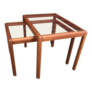 Mid Century Danish Modern Teak and Glass Nesting End Tables - 2 Pieces For Sale