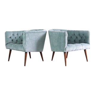 Pair of Milo Baughman for Thayer Coggin Lounge Chairs in Crushed Sky Blue For Sale