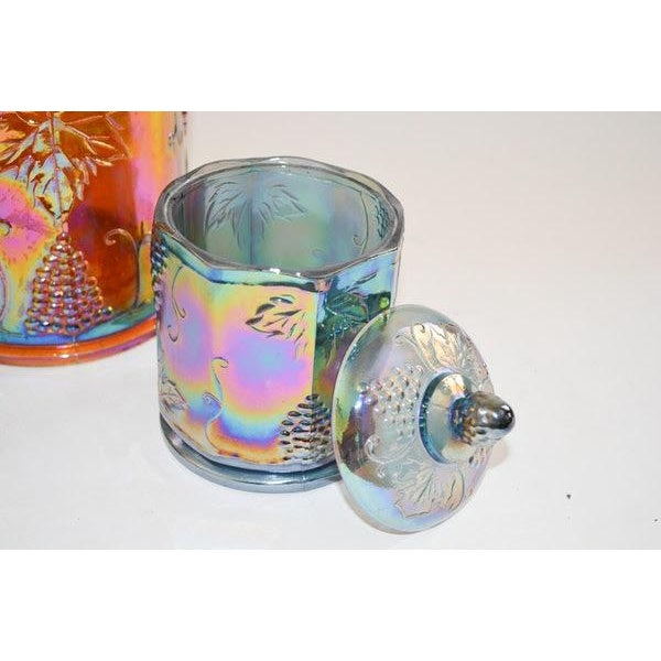 Glass Lidded Iridescent Lime Green, Orange and Blue Carnival Glass Canisters - Set of 3 For Sale - Image 7 of 13