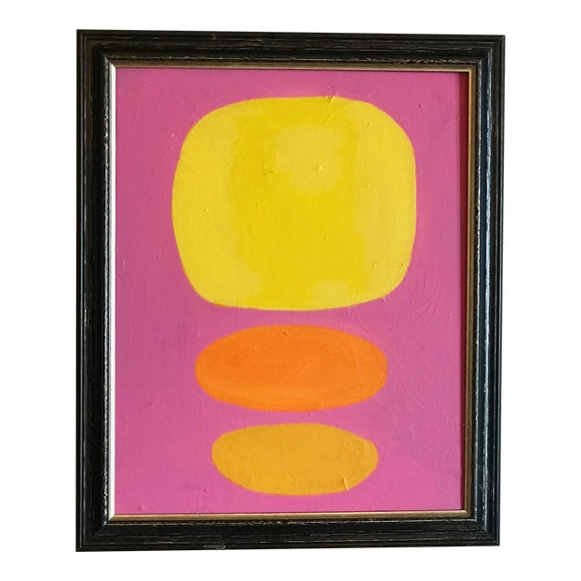 Modern Abstract Yellow Dots Painting For Sale