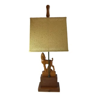 Mid-Century Heifetz Carved Wooden Neoclassical Lamp with Shade For Sale