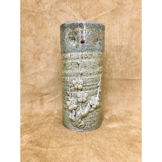 Vintage Speckled Crackled Glaze Hand Crafted Pottery Vase For Sale - Image 9 of 9