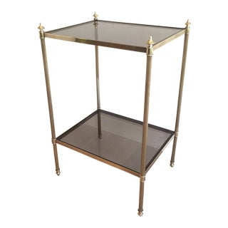 Mid Century Modern Brass and Glass Side Table by Maison Jansen