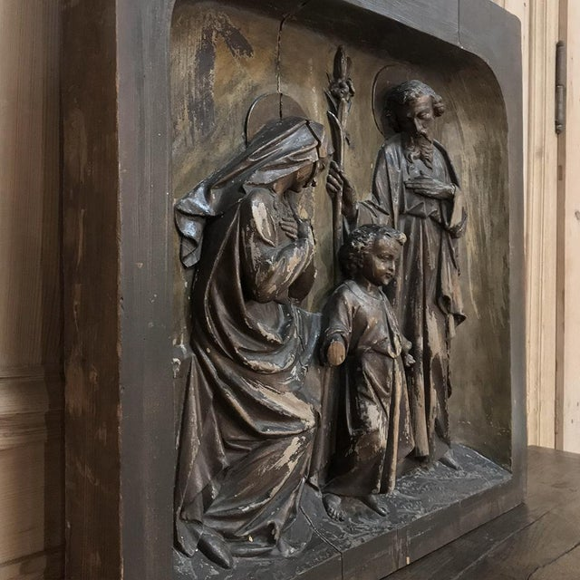 Walnut 19th Century Carved Panel of the Holy Family For Sale - Image 7 of 11