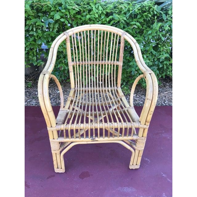 Brown 1960s Vintage Bamboo Arm Chairs- Set of 4 For Sale - Image 8 of 13