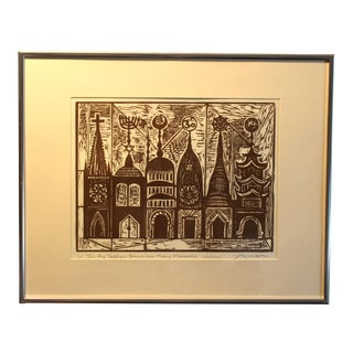 """1960s Vintage Irving Amen """"In My Father's House There Are Many Mansions"""" Artist Proof Original Woodcut Print For Sale"""