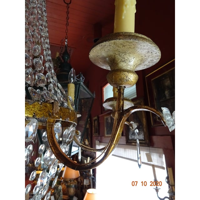 19th Century Italian Crystal and Iron Chandelier For Sale - Image 4 of 13