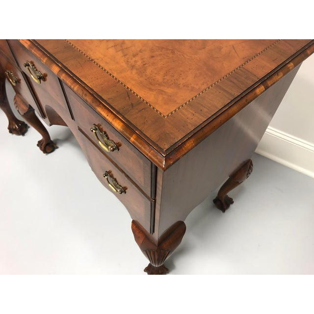 A Fine English Inlaid Burl Walnut Chippendale Lowboy Chests - a Pair For Sale In Charlotte - Image 6 of 13