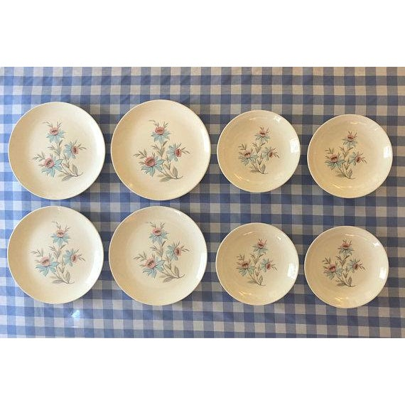 This is a 8 piece set of Fairlane pattern china by Steubenville Pottery, made in the U.S.A. Offered are 4 dinner plates...