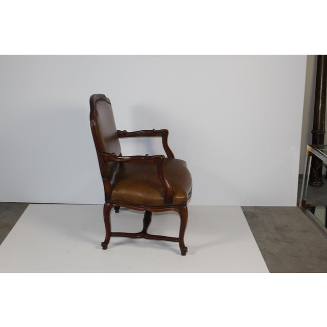 Louis XV-Style Brown Leather Chairs - Set of 3 - Image 4 of 5