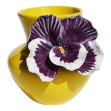 Image of Yellow and Purple Abstract Ceramic Vase with Affixed Floral Orchid For Sale