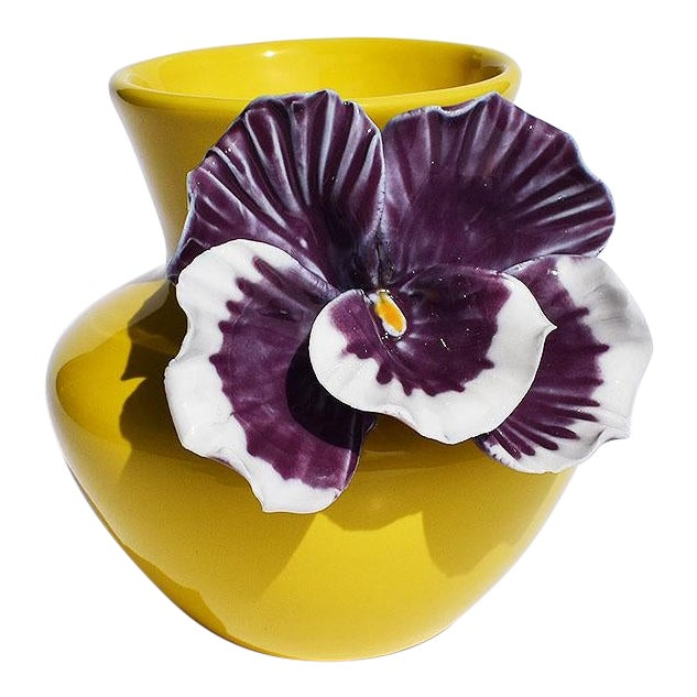 Yellow and Purple Abstract Ceramic Vase with Affixed Floral Orchid For Sale