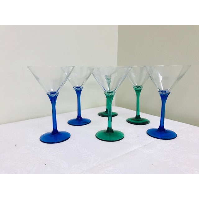 Vintage Blue & Green Stem Martini Glasses - Set of 6 For Sale In Saint Louis - Image 6 of 6