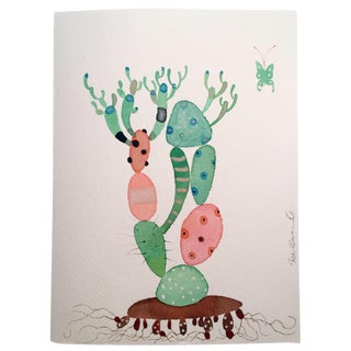 """""""Picasso Cactus"""" Watercolor Painting For Sale"""