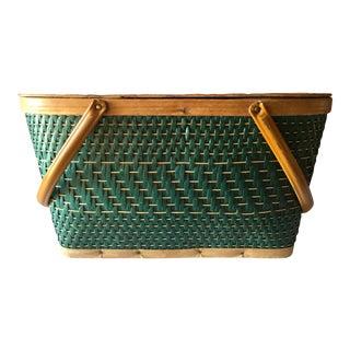 1940s Vintage Green Wicker & Wood Picnic Basket For Sale