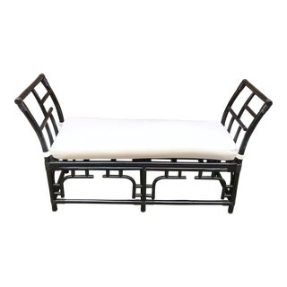 1970s Vintage Faux Bamboo Upholstered Bench For Sale