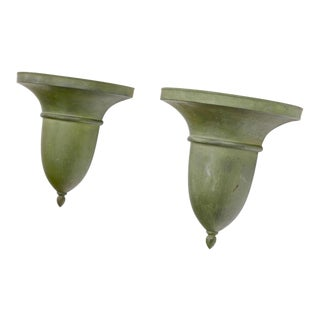 French Neo Classical Refined Tole Sconces With a Green Antique Patina For Sale