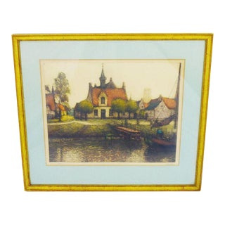 Early 20th Century European Village Scene Limited Edition Signed Lithograph For Sale