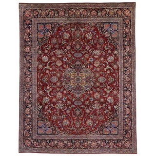 Vintage Persian Kashan Luxe Style Area Rug - 10′3″ × 13′3″ For Sale