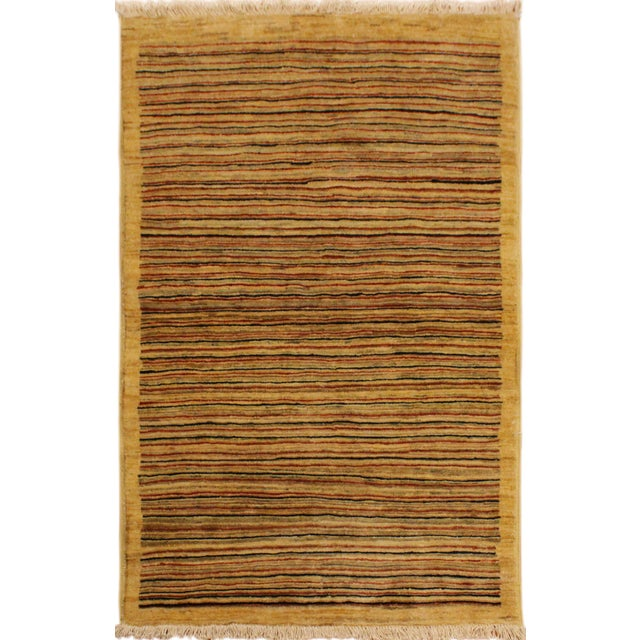 Tan Boho Chic Gabbeh Peshawar Jovita Tan/Red Hand-Knotted Wool Rug -3'0 X 4'9 For Sale - Image 8 of 8
