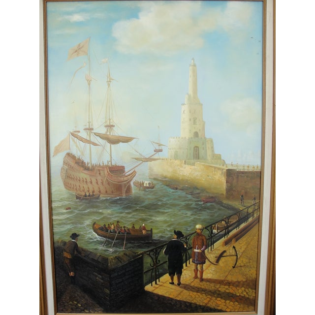 """""""Merchant Ship in Port"""" Painting - Image 3 of 10"""