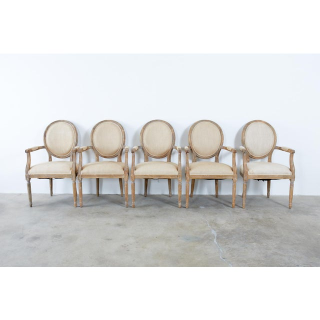 French Louis XVI Style Oak Dining Chairs - Set of 10 For Sale - Image 4 of 13