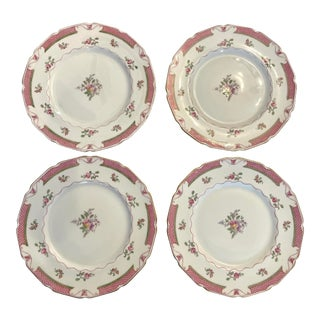 Royal Doulton Pink and Green Dinner Plates- a Set of 4 For Sale