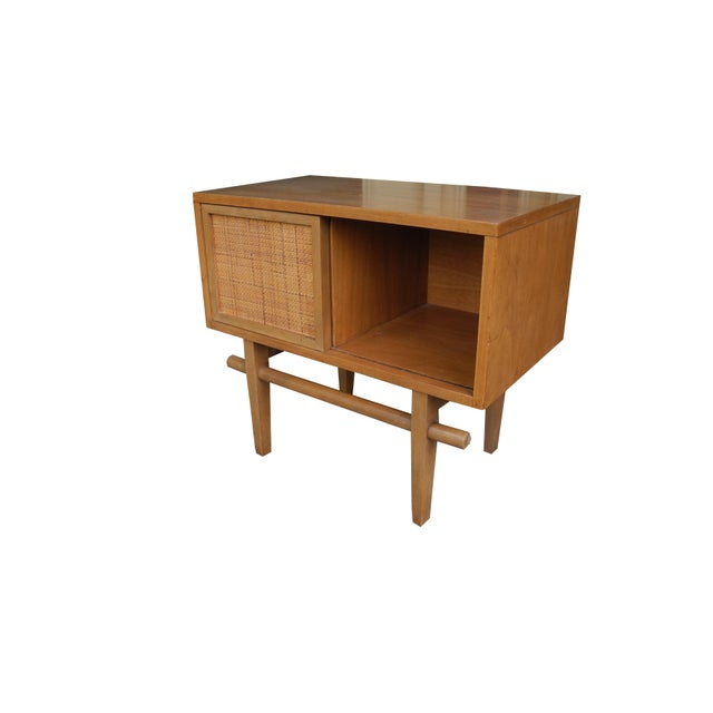 1950's Mid-Century Modern Single Maple Nightstand For Sale - Image 4 of 9