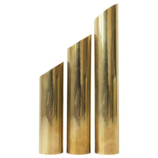 Set of '70s Modern Brass Cylindrical Sculptures For Sale