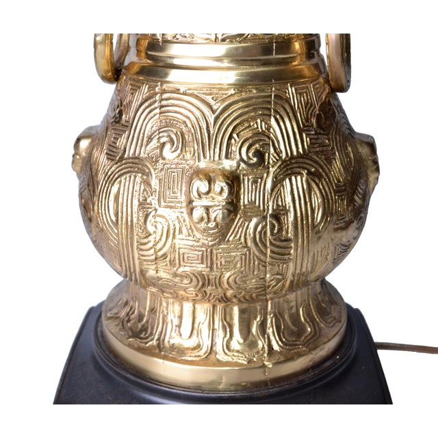 Bronze and Wood Table Lamp For Sale In Miami - Image 6 of 10