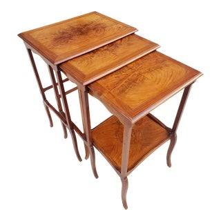 Vintage Brazilian Exotic Wood French Provincial Style Nesting Tables-Set For Sale