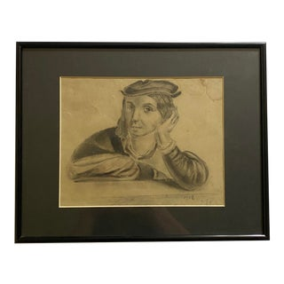 1863 French Portrait Drawing in Pencil For Sale