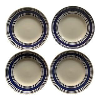 Ralph Lauren Blue Ticking Bread Plates - Set of 4 For Sale