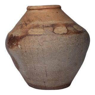 "14.5"" Tall 18th Century Tall Meiji Shigaraki Provincial Japanese Earth Tone Stoneware Jar For Sale"