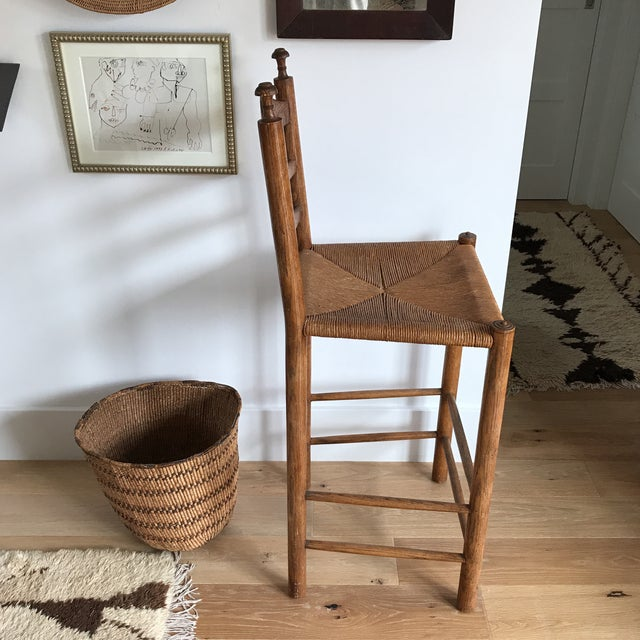 Vintage Turned Wood Woven Rush Counter Stool Chairish