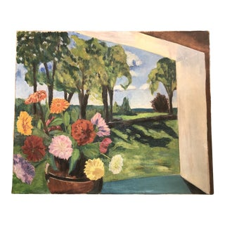 Original Vintage Room With a View Still Life /Landscape Painting 1960's For Sale