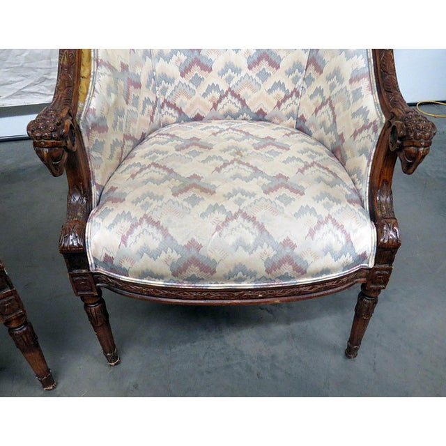 Wood Regency Style Club Chairs - a Pair For Sale - Image 7 of 13