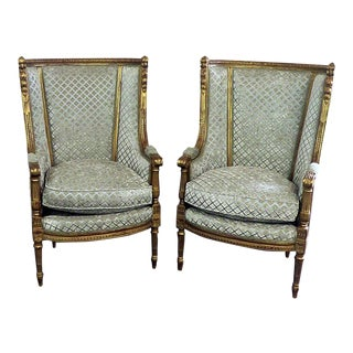 Pair of Regency Style High Back Chairs For Sale