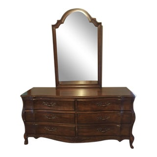 1970s French Provincial White Furniture Company Cherrywood Dresser with Mirror