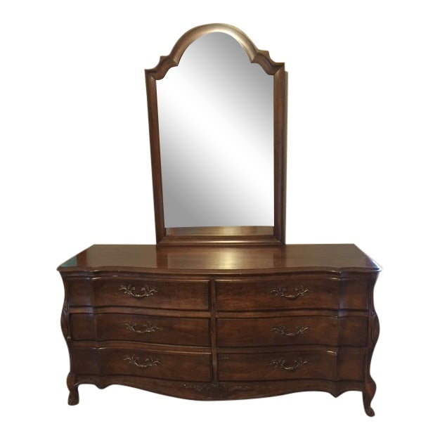 1970s French Provincial White Furniture Company Cherrywood Dresser with Mirror For Sale