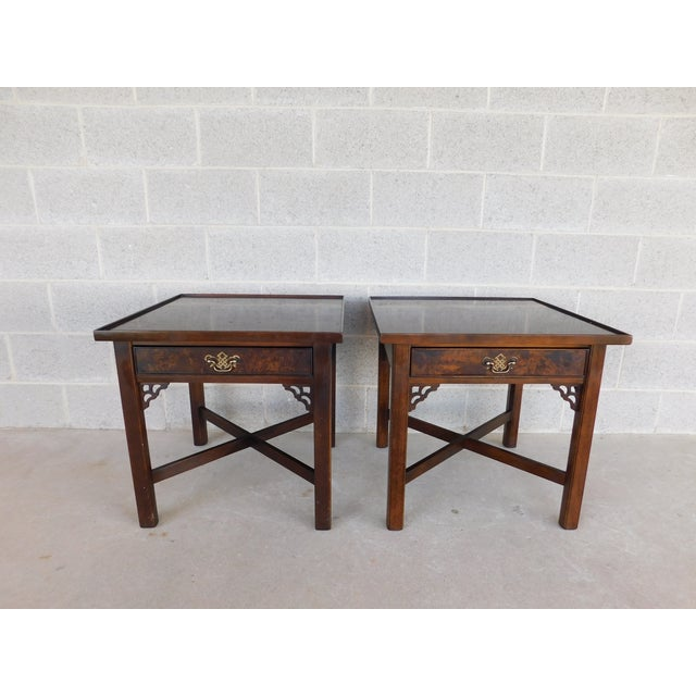 Knob Creek Chippendale Style Mahogany & Burl Walnut End Tables For Sale - Image 11 of 11